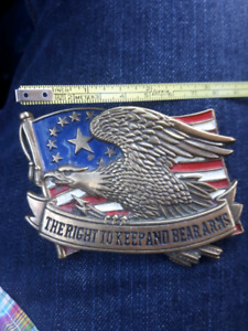 """Vintage 1982  Brass Belt Buckle """"Right to Keep & Bear Arms"""""""