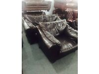Dark brown leather 2 and 1 sofa set