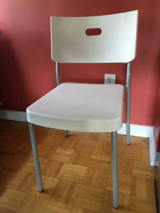 4 IKEA chairs, white plastic seat with silver legs