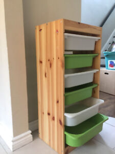 IKEA toy chest with bins