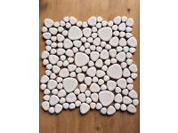 White mosaic tiles