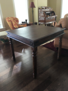 Solid Rosewood table with metal corner work - hand made in India