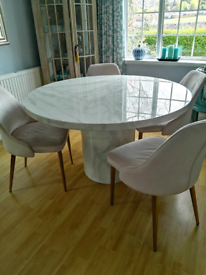 Solid marble round dining table