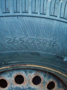 2 265/75/16 rims and tires good for spares off 2008 Jeep Wrangle