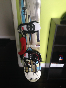 Boys snowboard, boots and bindings