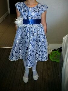 Royal Blue and White Lace Flower Girl Dress