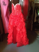 Red Hi-Low Mori Lee prom dress size 15