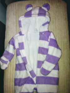 Carseat safe fleece snowsuit 3-6 months infant girls