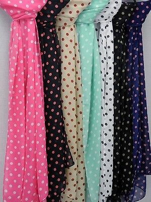 Fashion Ladies Scarfs Polka Dot in a Range of Colours great for retro outfits