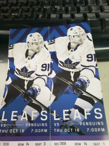 $280 FOR THE PAIR. MAPLE LEAFS VS PENGUINS OCT 18 CENTRE ICE