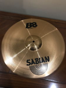 2 Sabian Cymbals (1 Used, 1 New), 1 stand (View picture to hold)