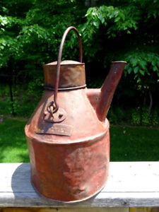 antique DOCTOR'S CAN pouring jug WATER GAS OIL?? with name plate