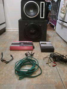Subwoofers with boxes, amps and some wiring