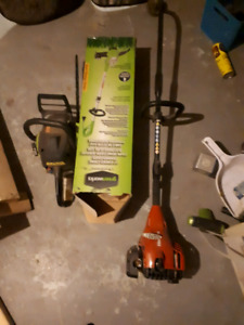 2 weed wackers and a chainsaw.