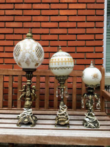 Set 3 Lampes Vintage Antique Baroque Table Lamps