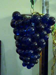 lucite 1960s OH SO RETRO grapes cluster HANGING SWAG lamp BLUE