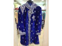 Men's - Sherwani royal blue velvet Indian outfit