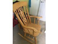 Solid Beech Wood Rocking Chair / Nursing Chair