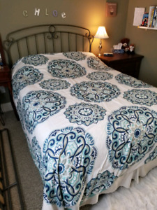 Double Bed with Box Spring, Pillow Top Mattress, Headboard and F
