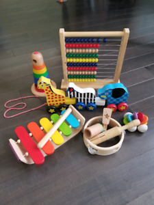 Assortment of wooden toys