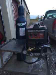 Lincoln 180 wire feed welder with bottle and cart