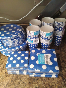 Paper plates, cups, napkins- enough for 56 people