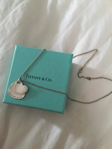 Authentic Tiffany & Co sterling silver double heart necklace