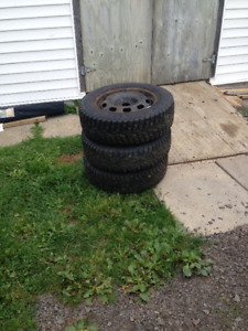 """3- 15""""Studded Winter Tires/on 15"""" Rims"""