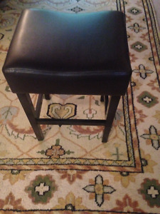 Bar Stool--Brand New--Dark brown square 'faux leather' stool