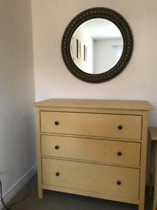 3 DRAWER CHEST, WALL MIRROR AND TWO NIGHTSTANDS MOVING SALE