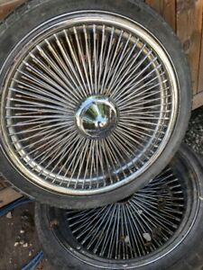 """20"""" Dayton Knock Off Wire Wheels with Spinners on new rubber"""