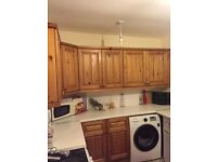 Pine wood kitchen wall cupboards , units, work tops