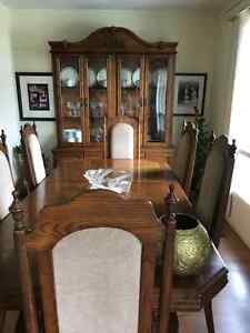 DINING TABLE, 6 CHAIRS, AND CHINA CABINET