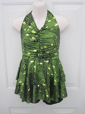 Snake Girl Costume (Bright Green Black Snake Skin Competition Recital Costume XL Child XLC 12)