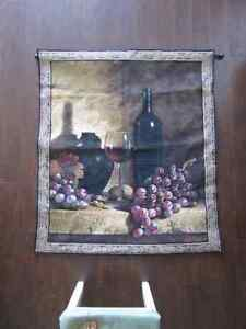 WINE TAPESTRY WALL HANGING WITH ROD
