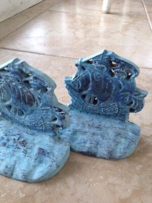 """turquoise colored brass sailboat  bookends approximately 6"""" distressed motif"""