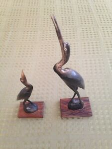 Pair of hand carved cranes.