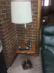 Pole lamp and side table