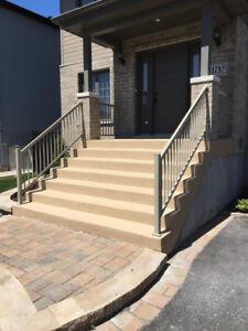 Finition de béton, terrasse, escaliers, crépi, coffrage