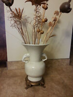 TWO Beautiful beige floor vases with flowers included/PORCELAIN