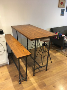 Bar Table, Bench and Stools