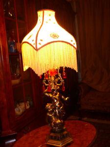 "VENDURare lampeRococo vtg/1950 h34"" bronze, cristal rouge anges"