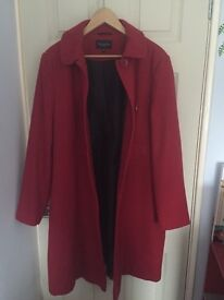 Excellent condition winter coat, colour red, size 18