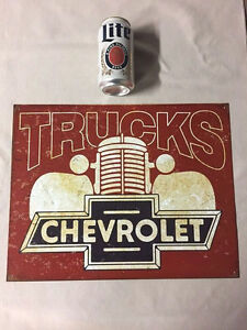 Chevrolet Trucks Sign Metal GM Man-Cave