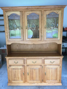 Solid Wood Hutch Cabinet w/ Light