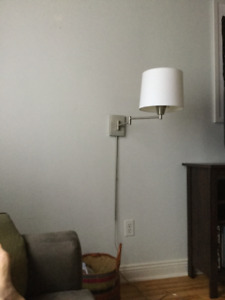 2 brushed steel swing arm plug in wall sconces