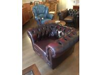 Leather chesterfield club armchair in chestnut colour vgc