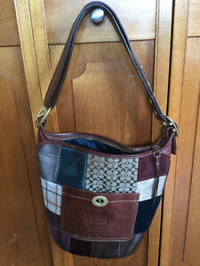 "Coach Leather/Suede ""hobo/bucket"" Style Patchwork Bag"