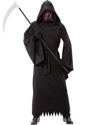 Adult Grim Reaper Phantom of Darkness Costume Mens Halloween Horror Robe Outfit - Phantom Of Darkness Costume