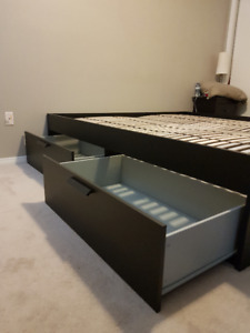 King - Brimnes bed frame with 2 end tables